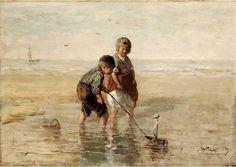 Jozef Israëls - Spelende kinderen op het strand