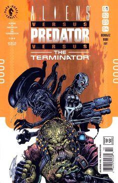 """Aliens vs Predator vs Terminator"" (2000) Cover di Dwayne Turner #DarkHorseComics #Aliens #Terminator #Predator #EllenRipley #AnnaleeCall #Gynoid #DwayneTurner"