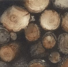 The Wood Pile £80.00 Image size 12 x 12cm    Edition 70 Chrissy Norman