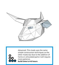 These Plans Enable You Turn Recycled Card Into A Low Polygon Bull Mask Just Print The Templates On Paper Stick Them To Cut Out