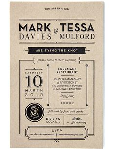 Wedding Invitation by Tessa Mulford, via Behance
