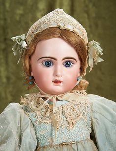 "27"" (69 cm.) Beautiful French Bisque Bebe Jumeau with Closed Mouth 2800/4000"