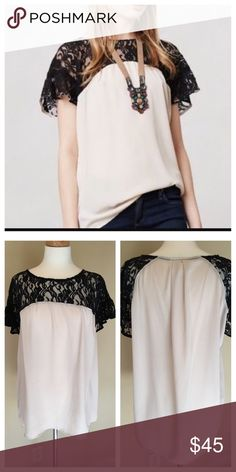 Anthropologie Maeve lace shouldered top VGUC tunic style top. Black lace and off white/white. This top is just so versatile and looks great tucked in. Anthropologie Tops Blouses