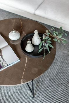 Croft House is a Los Angeles manufacturer and retailer of handmade home furniture and commercial fixtures. Modern Interior, Interior Styling, Interior Design, Diy Design, Round Marble Table, Coffee Table Styling, Coffee Tables, Industrial Cafe, Black And White Interior