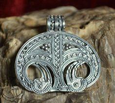 Viking Bird Tribe Women's Sacred Amulet - Silver Replica Denmark by WulflundJewelry, (sometimes called Lunula Lunitsa in modern times) Renaissance Jewelry, Viking Jewelry, Ancient Jewelry, Modern Jewelry, Metal Jewelry, Ethnic Jewelry, Ancient Vikings, Boho, Jewelery