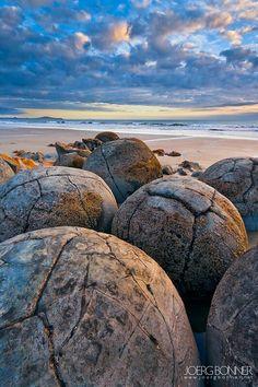 Moeraki Boulders, known as the 'Dinosaur Eggs, New Zealand.