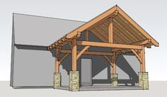 A simple 12x16 timber frame porch with a king post that can easily be made into a timber frame shed.