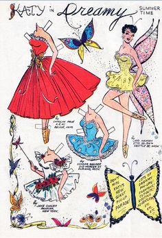 british paper dolls, 1950's | Katy Keene butterfly ballerina paperdoll c. 1950's