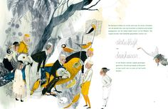 Spread from 'De Gouden Kooi / The Golden Cage' – by Anna Castagnoli and Carll Cneut – published De Eenhoorn, Belgium