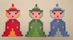 Flora Fauna Merryweather, Perler Beads, Sleeping Beauty, Disney, magnets, Christmas ornaments, Geekery