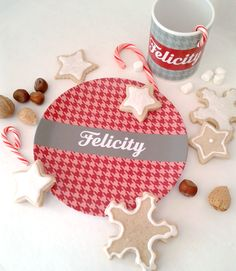 Personalized kids holiday plate and mug set with a modern-vintage vibe.