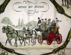 """Vintage Hermes Silk Scarf """"Avenue des Acacias,"""" carriages and horses, by Philippe Ledoux. 1964. $175.00"""