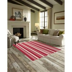 Maples Striped Area Rugs or Runner Collection, Red