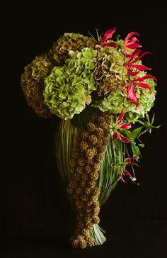 Floral Art designed by Botanic Art Photo by Ashley Ludaescher Love Flowers, Silk Flowers, Gloriosa Lily, Modern Wedding Flowers, Modern Flower Arrangements, Cascade Bouquet, Flower Designs, Art Designs, Design Ideas