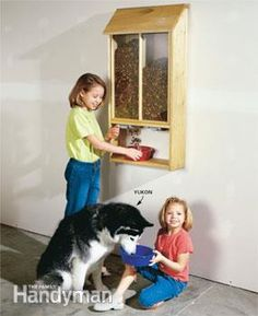 Pet food dispenser in action FOR BIRD SEED, DISPENSE INTO SCOOPS MADE FROM MILK JUGS TO FILL FEEDERS