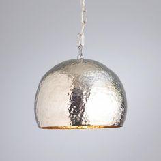 hammered nickel + brass pendant Kitchen.