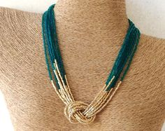 Peacock green and gold necklace,seed bead necklace,knot necklace,dark green and gold, beaded necklace,choker,multistrand necklace,bridesmaid