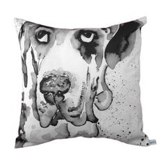 Black and white cushion featuring dog portrait £40.00