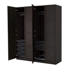 PAX Armario, negro-marrón, Hemnes negro-marrón bisagra cierre suave 200x60x236 cm