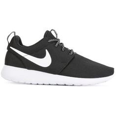 Nike 'Roshe One' sneakers ($91) ❤ liked on Polyvore featuring shoes, sneakers, black, black rubber sole shoes, nike, black trainers, nike trainers and black sneakers