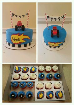 Blaze and the Monster Machines Birthday Cake and cupcakes