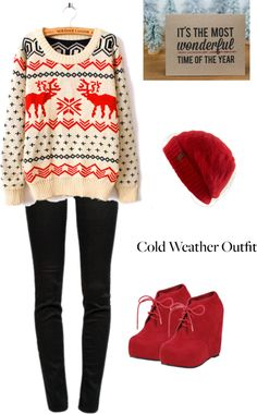 """""""ugly sweater outfit"""" by myobsessions96 ❤ liked on Polyvore"""