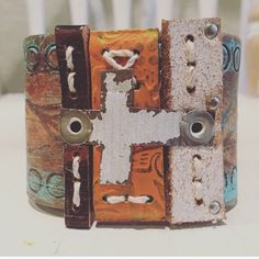 The  pieces of me  Rustic Cross Leather cuff by thecuffchic
