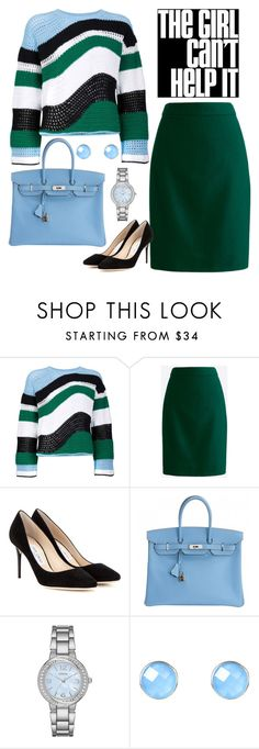 """""""The Girl Can't Help It"""" by dickensfan ❤ liked on Polyvore featuring Lala Berlin, J.Crew, Jimmy Choo, Hermès, Geneva and Latelita"""
