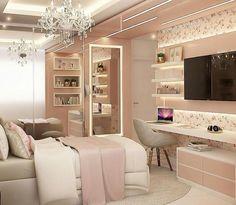 Room Design Bedroom, Bedroom Furniture Design, Girl Bedroom Designs, Home Room Design, Small Room Bedroom, Bedroom Ideas, Teenage Room Decor, Bedroom Decor For Teen Girls, Stylish Bedroom