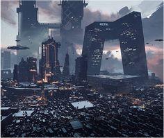 Cyberpunk Aesthetic, Cyberpunk City, Arte Cyberpunk, Futuristic City, Futuristic Architecture, Fantasy City, Sci Fi Fantasy, Sci Fi City, Science Fiction Art