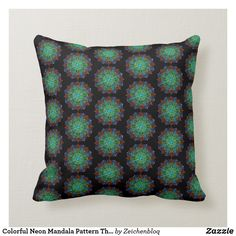 Colorful Neon Mandala Pattern Throw Pillow - abstract pattern design of mandalas in many colors on a black throw pillow Black Throw Pillows, Accent Pillows, Decorative Throw Pillows, Mandala Pattern, Abstract Pattern, Poufs, Cushions On Sofa, Pattern Design, Neon