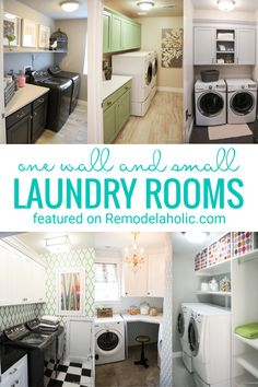 One Room And Small Laundry Rooms Full Of Inspiration And Design Ideas And More Featured On Remodelaholic.com #laundryroom #smalllaundryroom #laundryideas #laundryroomideas Room, Small Laundry Rooms, Saving Small, Green Cabinets, Cabinet Decor, Used Cabinets, Charcoal Walls, Laundry, Upper Cabinets