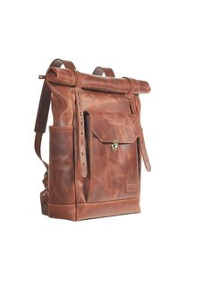 Brown leather backpack. Mens / Womens backpack. Hipster backpack. Brown leather…