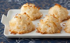 Coconut macaroons - 25mins INGREDIENTS: 400g sweetened desiccated coconut  400g sweetened condensed milk  1 tsp pure vanilla essence  2 extra-large egg whites, at room temperature  1/4 tsp salt