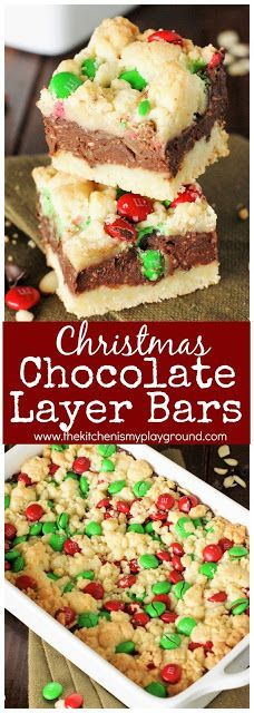 Christmas Chocolate Layer Bars ~ rich & fudgy bars with festive red & green for Christmas! Christmas Snacks, Christmas Pudding, Christmas Cooking, Christmas 2017, Holiday Cookies, Holiday Baking, Christmas Desserts, Christmas Chocolates, Cookie Recipes