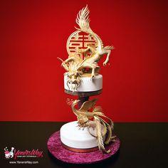 Dragon and Phoenix Cake by Yeners Way - Cake Art Tutorials - http://cakesdecor.com/cakes/214844-dragon-and-phoenix-cake