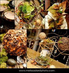 decorate with twine balls, pine cones, leaf covered balls