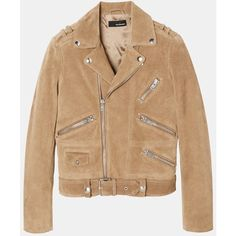 Biker jacket in suede ($75) ❤ liked on Polyvore featuring outerwear, jackets, motorcycle jacket, suede jacket, suede leather jacket, beige jacket and moto jacket