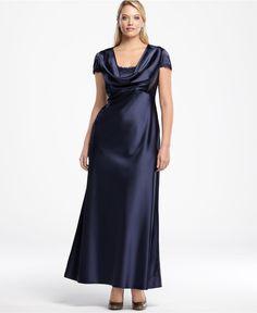 navy blue modest evening gown