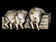 "Pig Brooch Pin Three Pigs in A Trough Gold Tone 2 5""   eBay"
