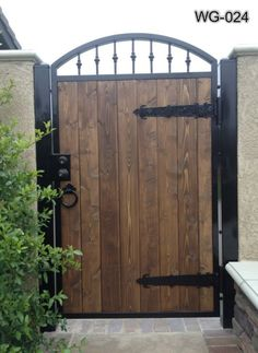 Wooden Gates, Wood Doors, Advanced Iron Concepts Call For Wood Entry Doors At Wood Fence Gates, Wooden Garden Gate, Metal Garden Gates, Wooden Gates, Garden Doors, Diy Fence, Iron Gate Design, House Gate Design, Fence Design