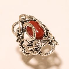 Natural Sea Red Coral 925 Sterling Silver Double Warp Snake Fine Jewelry Ring AA #Handmade #SnakeWrapRing #ValentineDay