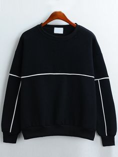 Round Neck Loose Black Sweatshirt