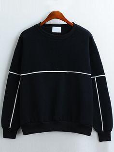Round Neck Loose Black Sweatshirt