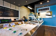 A west coast contemporary seafood market and fish n' chips shop designed by Hatch Interior Design Inc., Kelowna, BC.