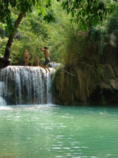 Kuang Si Falls, Laos...got to get here can just imagine Terry bombing off this