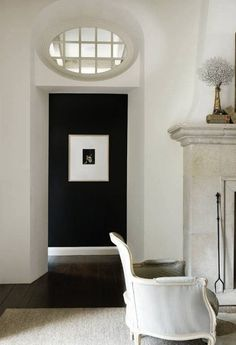 Love the black wall as a focal point