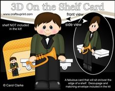 3D On The Shelf Card Kit - Little Trumpet Player Cary