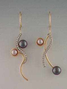 #EARRINGS - 18KT PALLADUIM WHITE AND YELLOW GOLD, DIAMONDS, CULTURED PEARLS