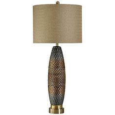Enjoy perfect, soothing lighting and Mid-Century styling from this ceramic table lamp. high overall. Base is 6 wide. Drum shade is 12 high x 16 wide. Uses one maximum 150 watt standard-medium base bulb (not included). Style # at Lamps Plus. Buffet Table Lamps, Grey Table Lamps, Metal Table Lamps, Ceramic Table Lamps, Grey Lamps, Tall Lamps, Light Bulb Bases, Lamp Bases, Traditional Lamps